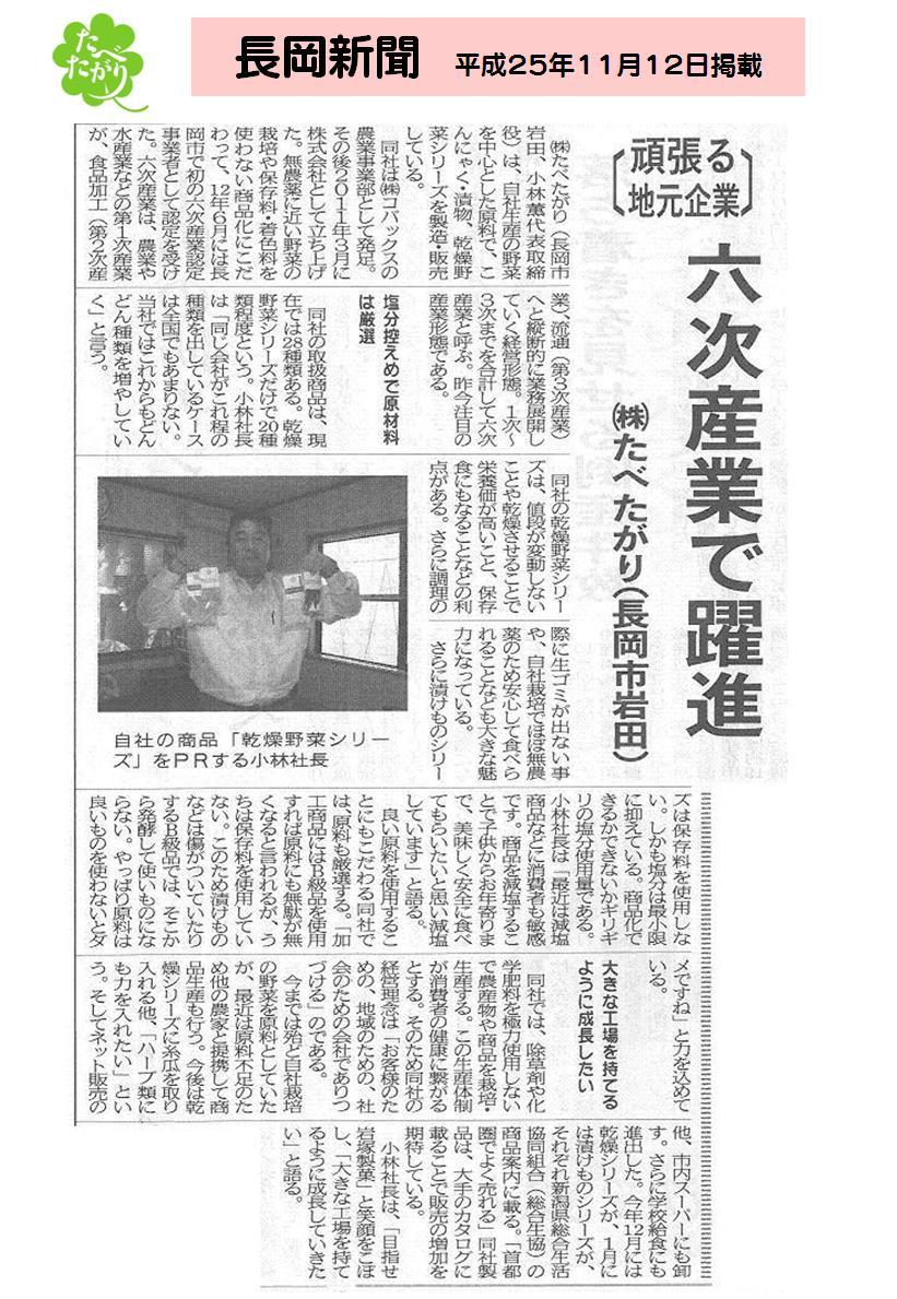 『長岡新聞』 2013年11月12日